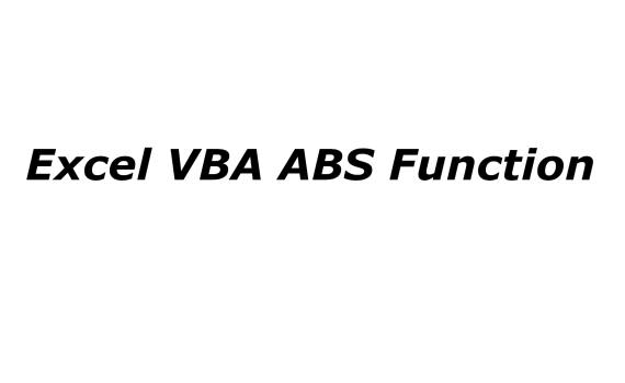 Excel VBA ABS function