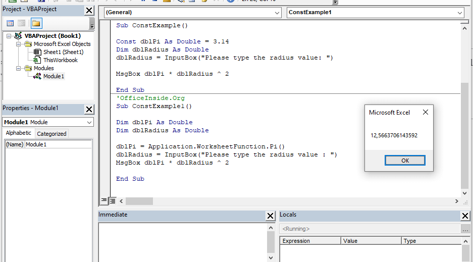 Example: How to use constant values in VBA?