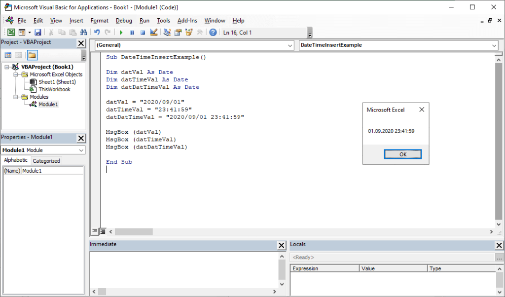 Date and time functions in Excel VBA