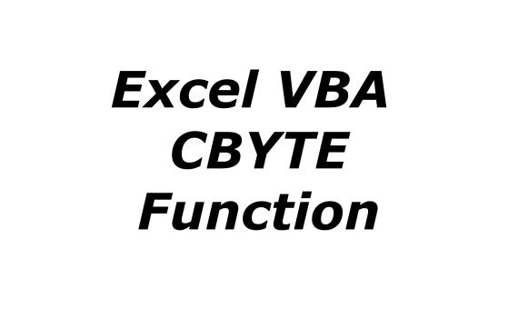 Excel VBA CBYTE function