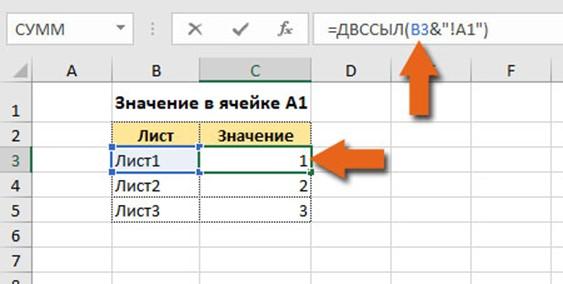 Динамическая ссылка на лист в Excel