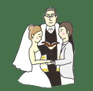 牧師さんと新郎新婦の絵