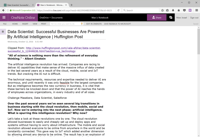 OneNote online showing clipped article