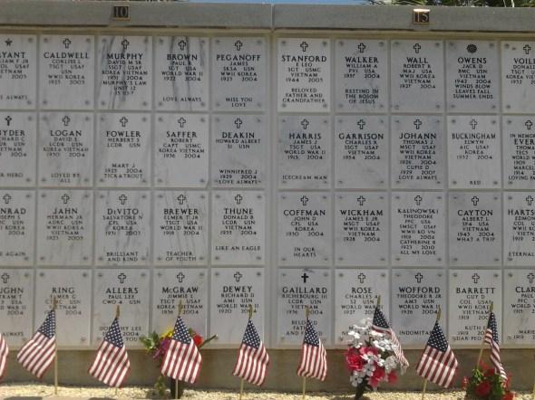 Urns in the NAS Pensacola barrancas national cemetery