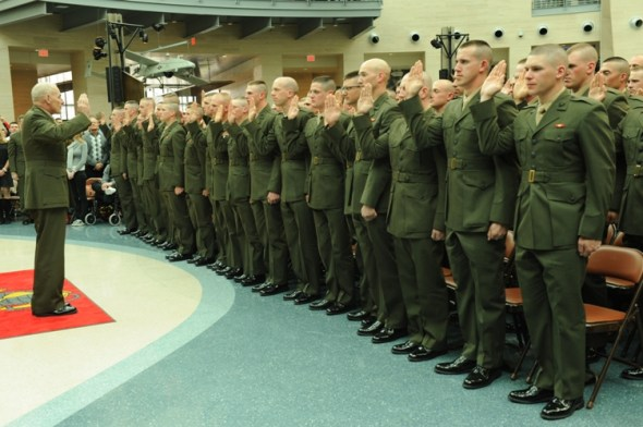 OCS graduates take the oath in the National Museum of the Marine Corps