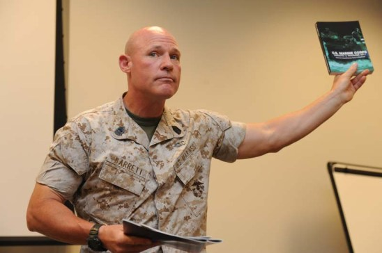 U.S. Marine Corps Sgt. Maj. Micheal P. Barrett, 17th Sergeant Major of the Marine Corps visits U.S. Marines in Quantico, Va. July 26th, 2011.