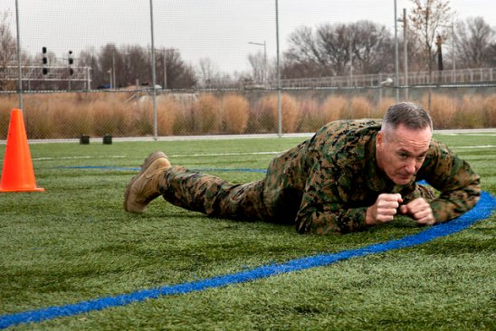 Even the Commandant of the Marine Corps leads by example, by completing a Combat Fitness Test