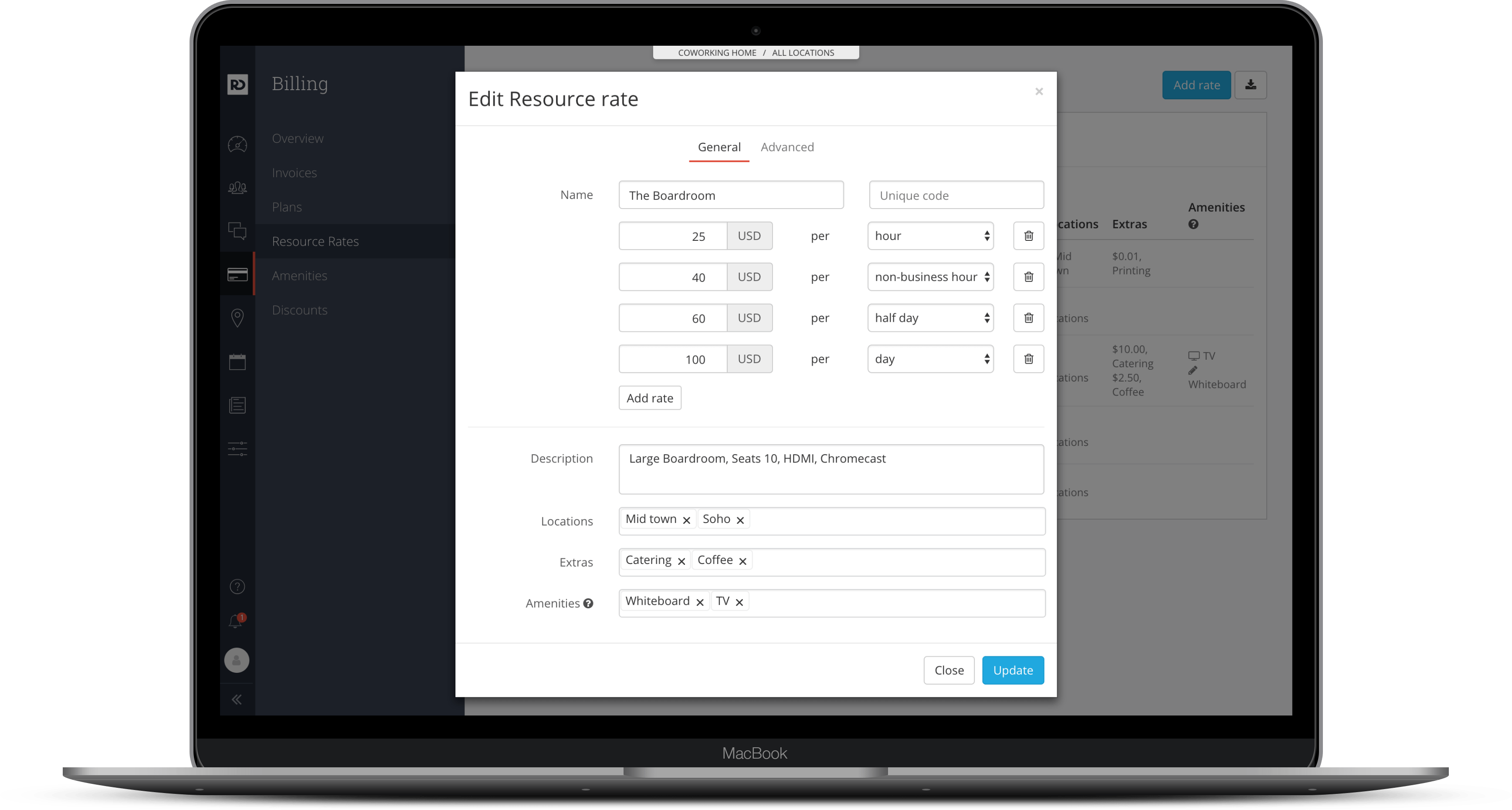 Screenshot of coworking software's meeting room management features