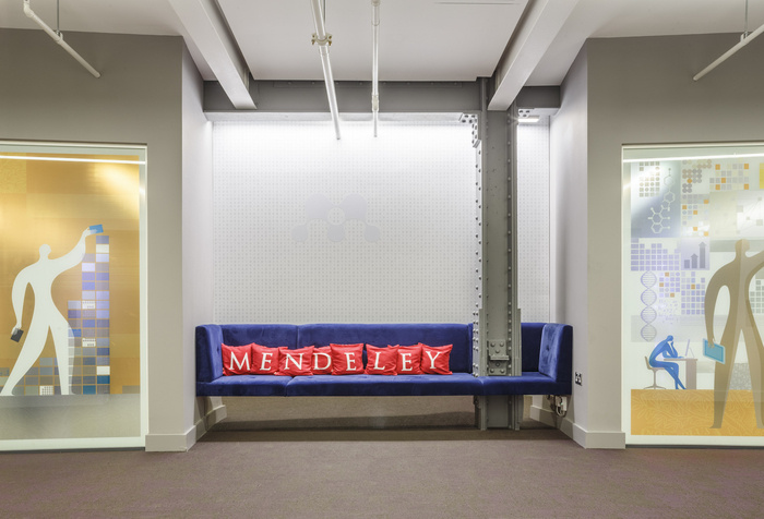 3 - Nook with royal blue velvet sofa in lift lobby area