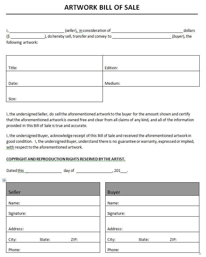 Auto bill of sale template