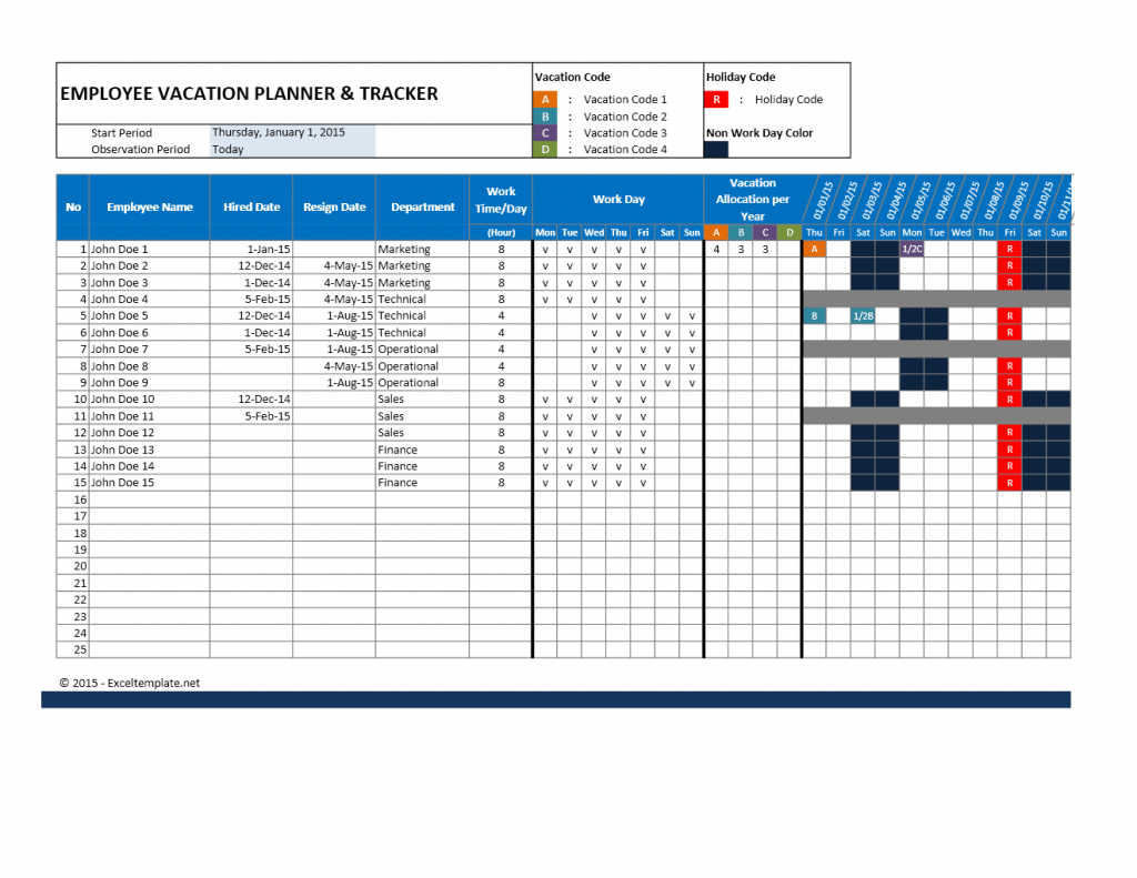 Employee Attendance Calendar And Vacation Planner
