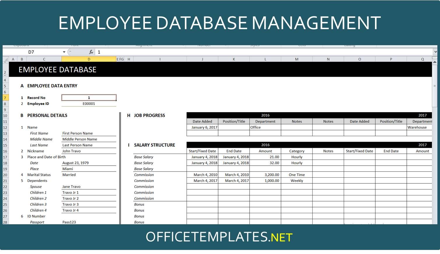 Employee Database Management Spreadsheet Officetemplates