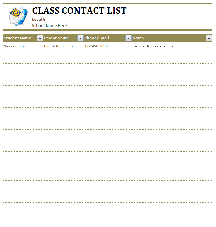 Please use this form to get in touch with questions, comments, corrections, criticisms, or good (clean. Class Student S Contact List Ms Word Template Office Templates Online