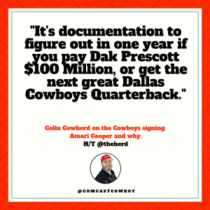 Legends, Colin Cowherd, Amari Cooper, Oakland Raiders, Dallas Cowboys, Dak Prescott, Jerry Jones, Barry Gipson, Comcast Cowboy, NFL