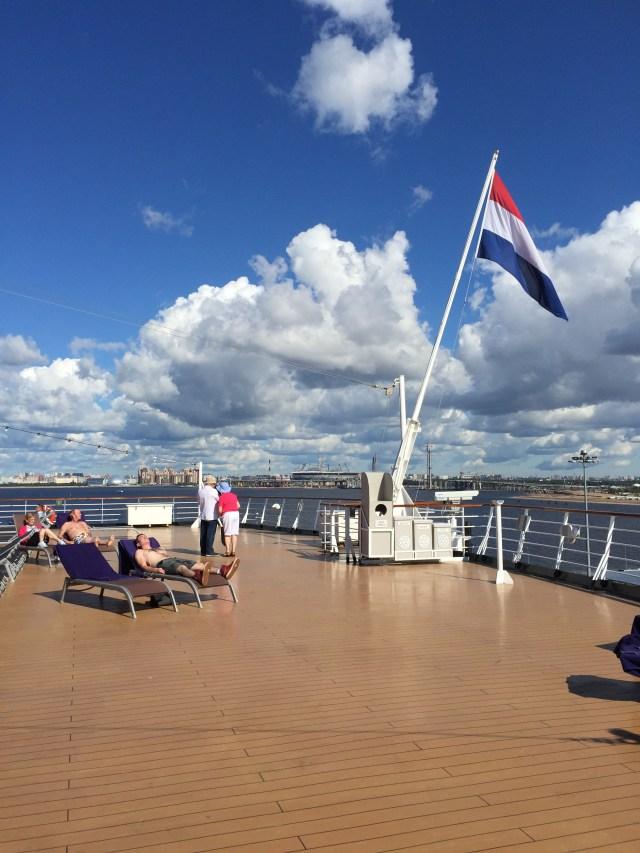 Holland America Eurodam aft with flag