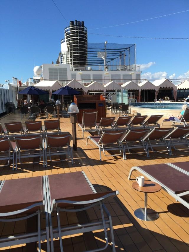 Holland Amerca Eurodam top deck loungers and pool