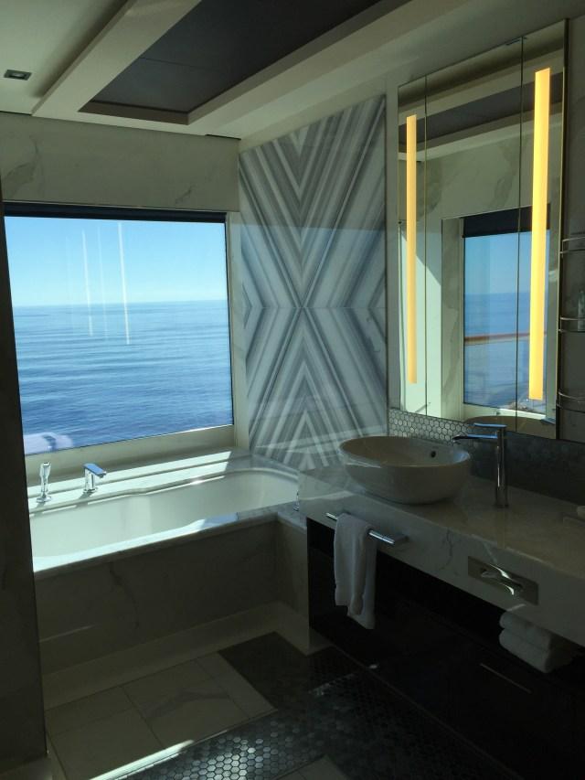 Norwegian cruises escape cruise ship cabin bathroom bathtub