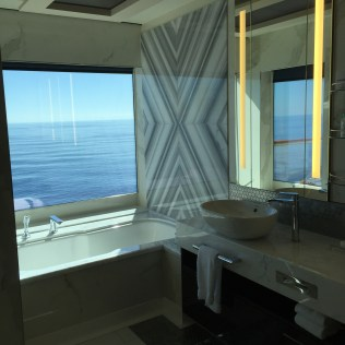 Norwegian cruises escape cruise ship cabin bathroom bathtub