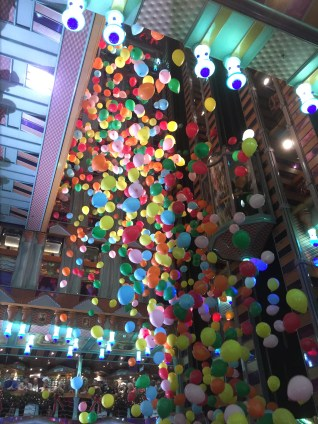 carnival cruises miracle balloon drop in atrium