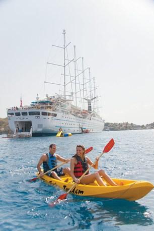 Small ship cruising windstar cruises wind surf kayakers