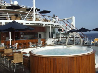 Small ship cruising windstar cruise wind surf hot tub