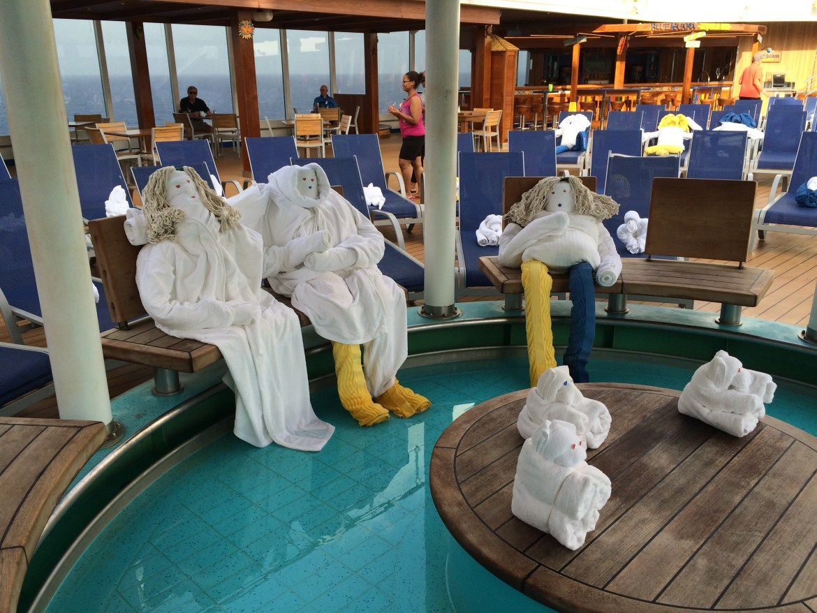 Carnival towel people greet passengers