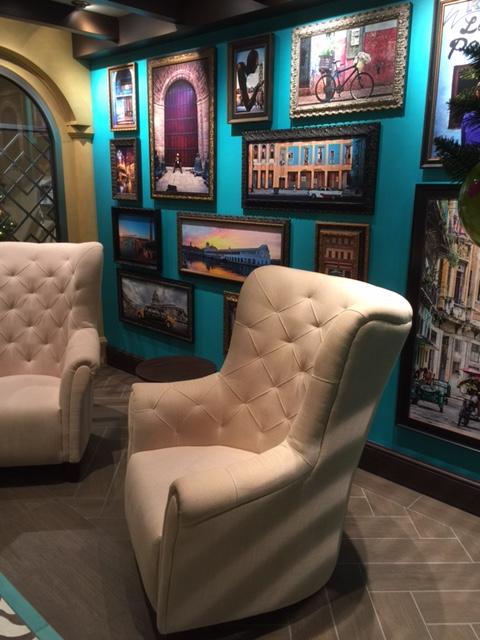 Carnival Cruises Vista cruise ship white lounge chairs