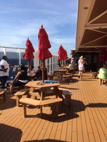 Carnival Cruises Vista cruise ship barbecue seating