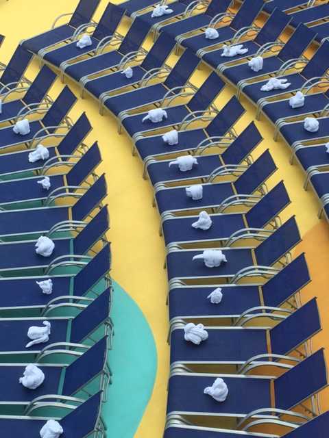 Carnival Cruises Vista cruise ship towel creatures on loungers