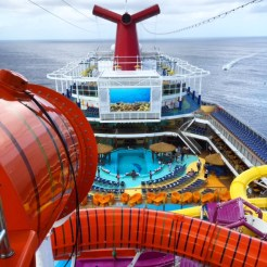 Carnival Cruises Vista cruise ship top deck view of pool