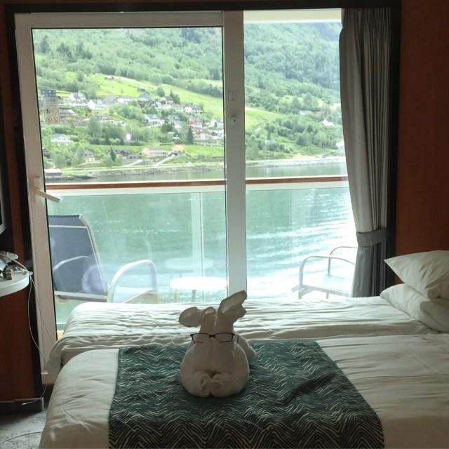 Norwegian cruises Jade cruise ship Norway towel creature balcony cabin
