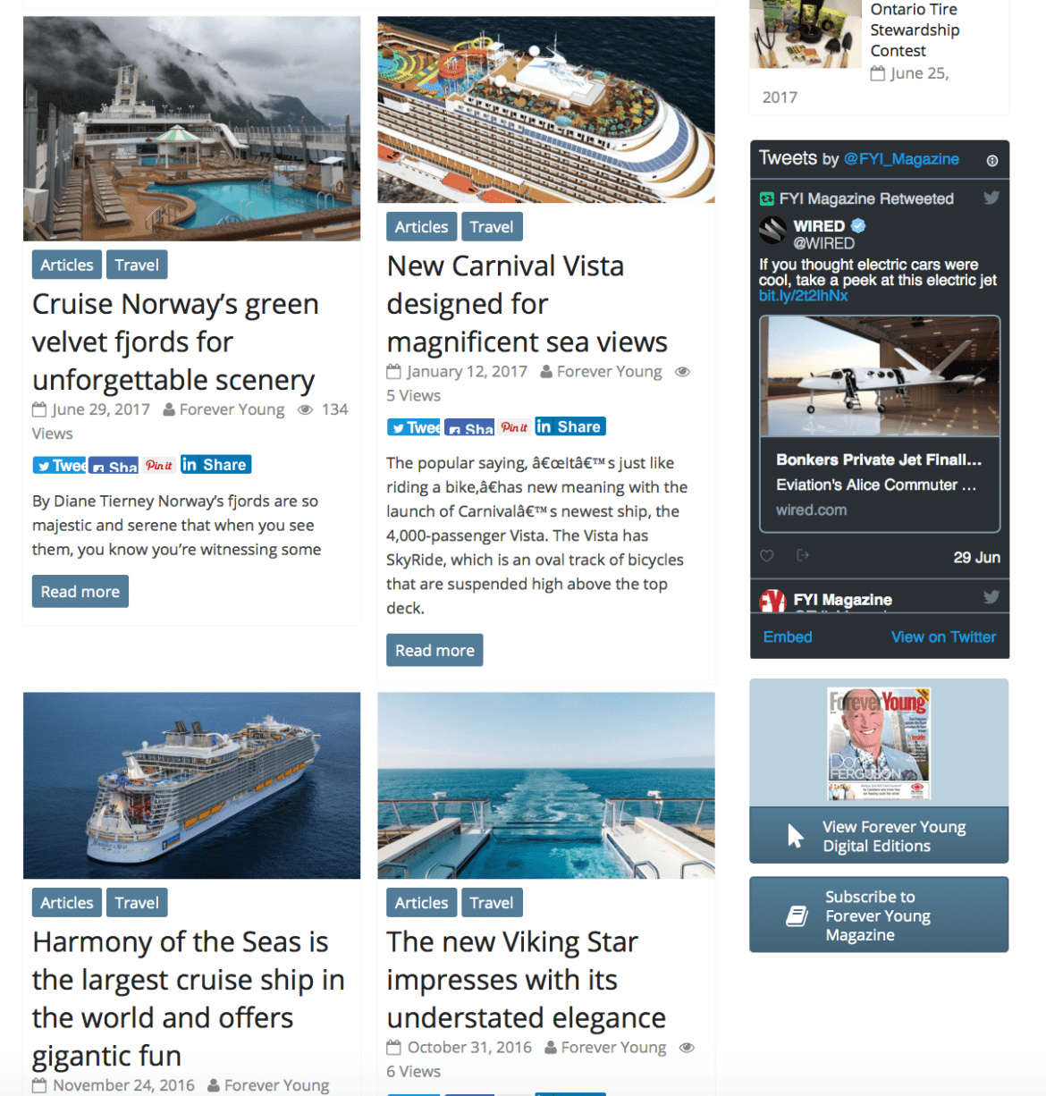 Cruiseguru's cruise ship reviews in Forever Young News