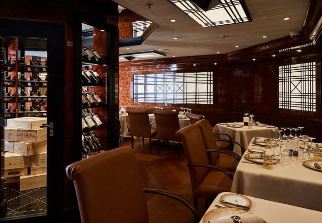 Silversea cruises silver muse cruise ship wine wall