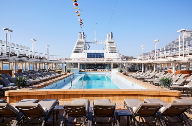 Silversea cruises silver muse cruise ship pool deck