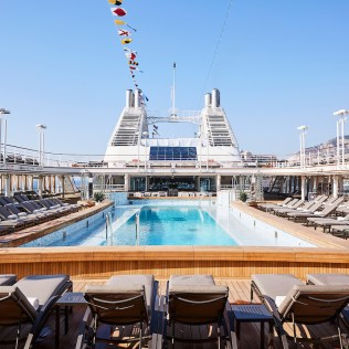 Silversea cruises silver muse cruise ship pool deck