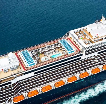 Holland America Statendam cruise ship aerial view of mid ship pool