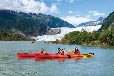 Cunard Queen Elizabeth Alaska kayaking Mendenhall glacier