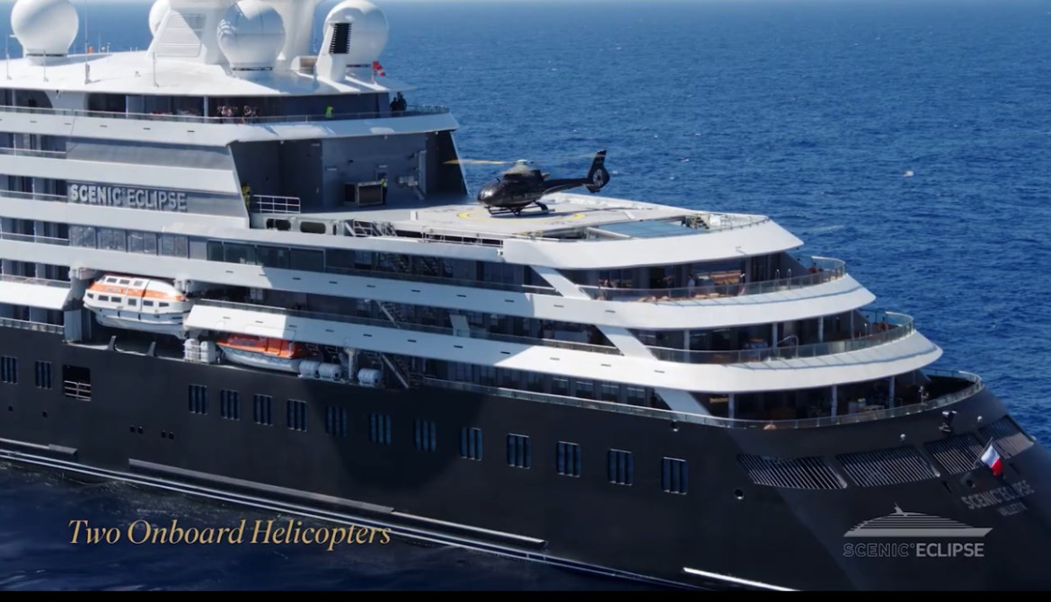 Scenic Eclipse cruise ship has helicopters and submarine