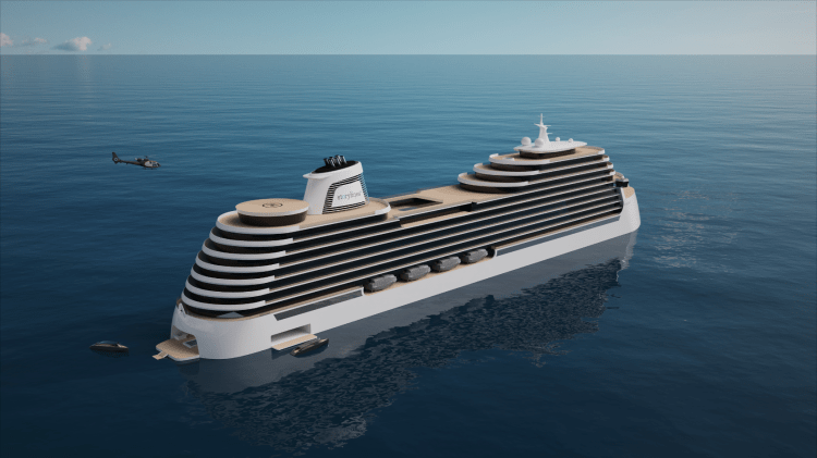 Cruise ship you can live on called Storylines aft and top view