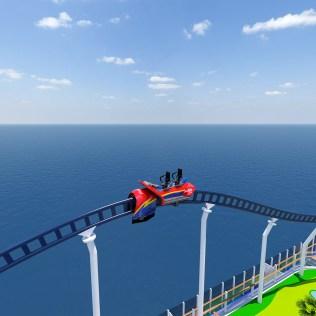 Carnival Cruises Mardi Gras roller coast side view