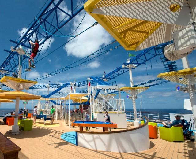 Carnival Cruises Sunrise cruise ship sports area tightrope area