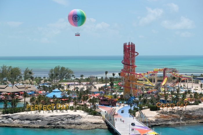 Royal Caribbean Perfect Day Coco Cay Devil tower and balloon