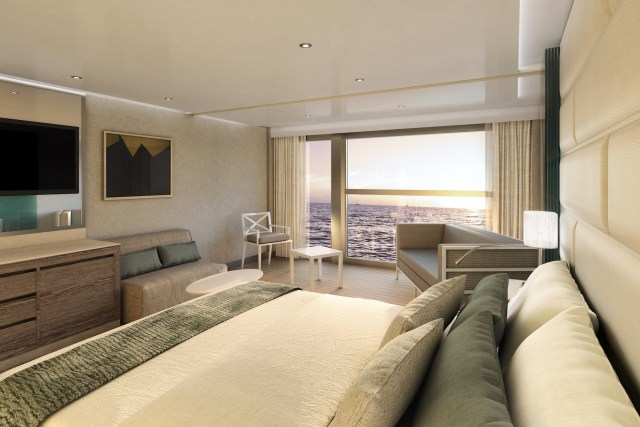 Silversea Origin cruise ship veranda bed