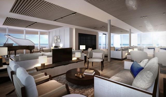 Silversea Origin cruise ship explorers lounge view piano