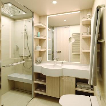 standard cabin bath and shower.