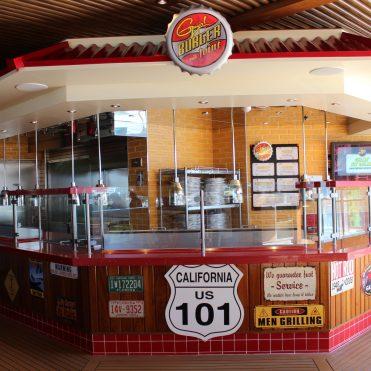Carnival Cruises Panorama cruise ship main pool Guy Fieri's burger joint