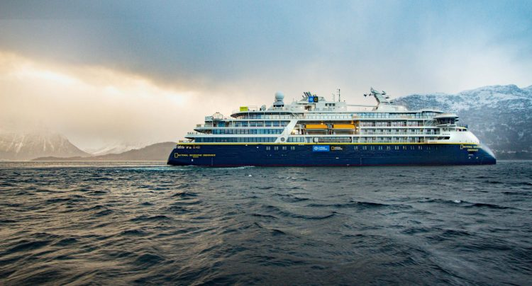 National Geographic Endurance cruise ship at sea completes sea trials.