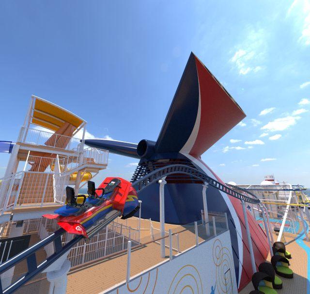 Carnival Cruises Mardi Gras and Celebration rollercoaster Bolt