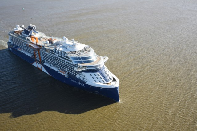 Celebrity Cruises Apex bow aerial view