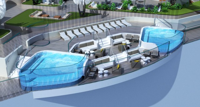 Celebrity Cruises Beyond cruise ship rooftop garden water feature